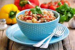 开胃菜& x28; salad& x29;烤茄子、胡椒、蕃茄、葱、大蒜和香菜 免版税图库摄影