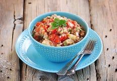 开胃菜& x28; salad& x29;烤茄子、胡椒、蕃茄、葱、大蒜和香菜 图库摄影