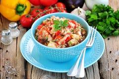 开胃菜& x28; salad& x29;烤茄子、胡椒、蕃茄、葱、大蒜和香菜 库存照片