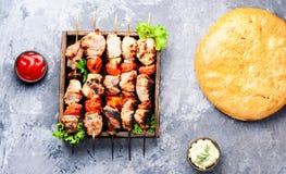 开胃菜kebab,烤肉 免版税库存照片