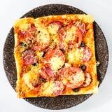 开胃薄饼用蒜味咸腊肠、乳酪和蕃茄在轻的backg 免版税图库摄影