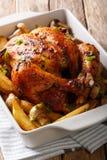 开胃被烘烤的鸡用蘑菇和土豆特写镜头 免版税库存照片