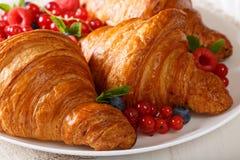 开胃酥脆新月形面包和莓果宏观在板材 Horiz 免版税库存图片