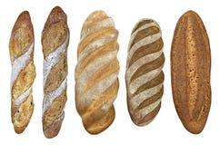 开胃长方形宝石和大面包在白色背景 免版税图库摄影
