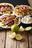 开胃食物:与金枪鱼,芝麻,玉米,红叶卷心菜的炸玉米饼和 免版税库存照片
