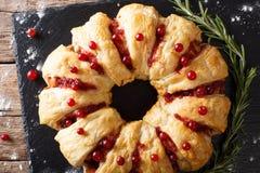开胃鸡饼用蔓越桔和乳酪特写镜头 贺尔 免版税库存照片