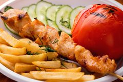 开胃鸡kebab、油煎的土豆片、烤蕃茄和新鲜的被切的黄瓜特写镜头 库存照片
