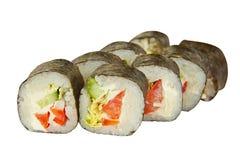 开胃素食主义者滚动与菜在板材在whi 免版税库存图片
