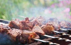 开胃shashlik在烤肉被烹调 免版税库存图片