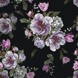 开花与水彩牡丹、白玫瑰和郁金香的无缝的样式 库存照片