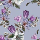 开花与水彩郁金香和茉莉花的无缝的样式 向量例证