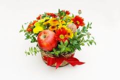 开花与秋天被隔绝的菊花花和苹果的构成 礼物与拷贝空间的花的布置 图库摄影