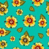 开花与花的动画片明亮的减速火箭的抽象样式 免版税库存图片