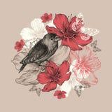 开花与鸟、蝴蝶和floweri的背景 免版税库存图片
