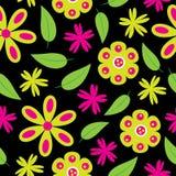 开花与绿色和桃红色花的无缝的样式在墙纸的黑背景 库存照片