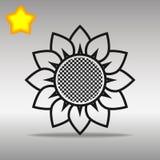 开花优质黑象按钮商标标志的概念 库存图片
