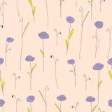 开花例证模式紫色无缝的向量 与风格化乱画玫瑰的乳脂状的背景 免版税图库摄影