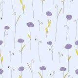 开花例证模式紫色无缝的向量 与风格化乱画玫瑰的淡紫色背景 免版税图库摄影