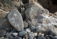 开花例证scrached入在海滩的一块石头 免版税库存图片
