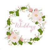 开花卡片,邀请,与标题婚礼的横幅模板  免版税库存图片