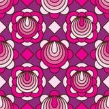 开花圈子线桃红色紫色diamand形状无缝的样式 库存例证