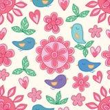 开花圈子花鸟爱粉红彩笔颜色无缝的样式 向量例证