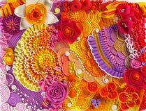 开花在塑造的技术做的背景由彩色塑泥 免版税库存照片