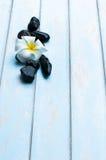 开花在小组在木地板上的黑石头 免版税图库摄影