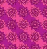 开花坛场对称无缝的样式紫色桃红色颜色 向量例证