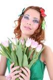 开花头发的红色妇女 图库摄影