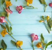 开花德国锥脚形酒杯开花的花卉装饰在颜色木背景,框架 免版税库存照片