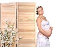开花怀孕的俏丽的妇女 免版税库存照片