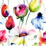 开花无缝的风格化墙纸 图库摄影