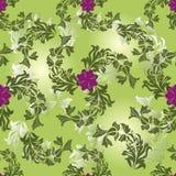 开花无缝绿色的模式 库存图片