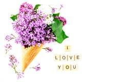 开花构成 在奶蛋烘饼锥体的丁香在白色背景 平的位置,顶视图,拷贝空间 提案,爱的概念 库存照片