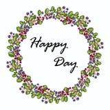 开花框架 与绿色叶子和蓝色桃红色花的五颜六色的花卉收藏 库存照片