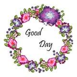 开花框架 与绿色叶子和蓝色桃红色花,画水彩的红色紫罗兰色莓果的五颜六色的花卉收藏 库存照片