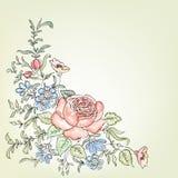 开花框架 在维多利亚女王时代的样式的花卉葡萄酒背景 库存图片