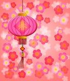 开花樱桃中国灯笼新年度 免版税库存图片