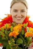 开花橙色妇女 库存照片