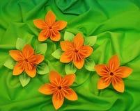 开花橙色origami 免版税库存图片