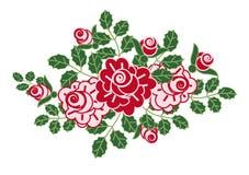 开花浪漫玫瑰装饰图案 免版税库存照片