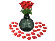 开花玫瑰花瓶 库存照片