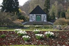 开花用木材建造的德国房子 免版税图库摄影