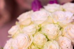 开花白玫瑰玫瑰花束  库存图片