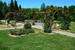 开花的在树木园Mlynany,斯洛伐克蔷薇花坛的红色玫瑰装饰曲拱  免版税库存图片
