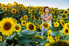 开花的域向日葵妇女 免版税库存图片