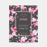 开花的春天和夏天花卉框架 水彩邀请的,婚礼,婴儿送礼会卡片佐仓花 皇族释放例证
