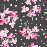 开花的春天花纹花样背景 无缝的时尚印刷品 库存例证