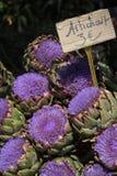 开花的朝鲜蓟普罗旺斯市场 库存图片